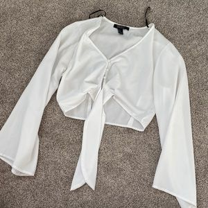 Sheer tie front forever 21 cropped top